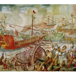 António Vassilacchi (1556-1629) Batalha de Actium – 22 de Setembro 31 a.C (1600) – Mural (80x55 cms.) Museu do Vaticano